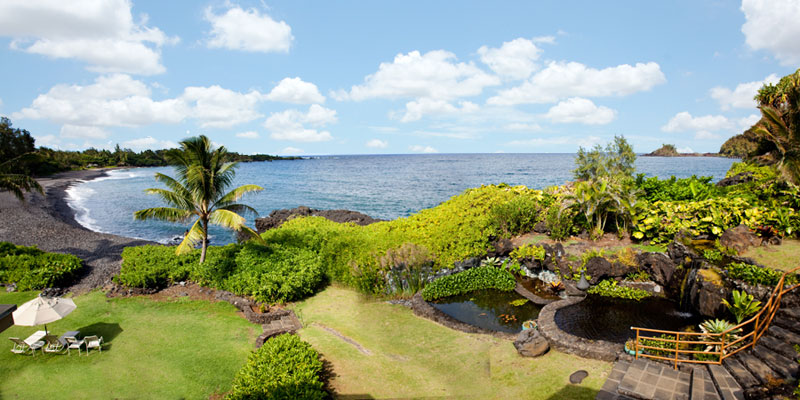 Koi Pond with View of Hana Bay